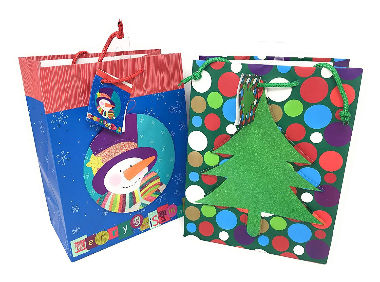 """Christmas Gift Bag Bundle of Twelve 7"""" x 9"""" Bags: 6 Merry Christmas Snowman and 6 Glittery Christmas Tree"""