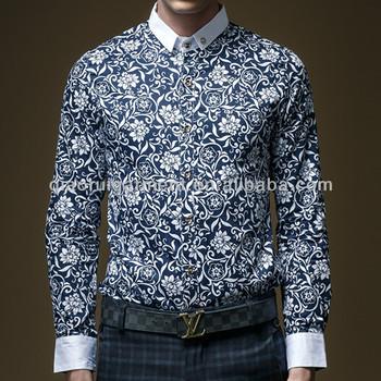 6e8052b1 2015 New Design Men's Slim Fit White Collar Long Sleeve Flower Print Shirts
