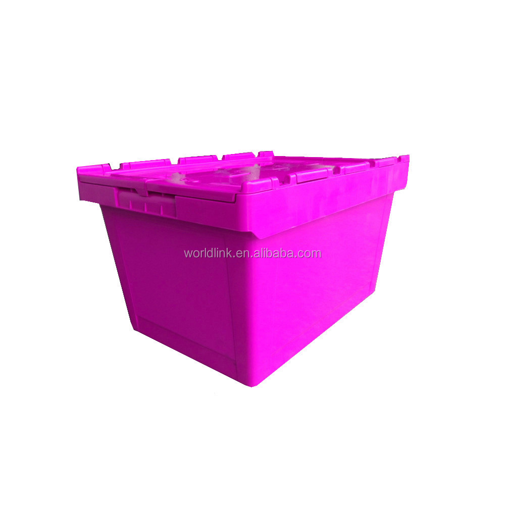 65L Storage PP Stackable Attached Lid Plastic Crates