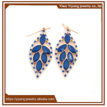 Elegant Crystal Blue Sapphire Gemstone Hollow Leaf Shaped Gopali Jewellers Earrings
