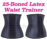 25 Steel boned 100% latex waist trainer corset waist cincher for sportswear body shapers