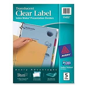 Avery Index Maker Translucent Clear Label Divider