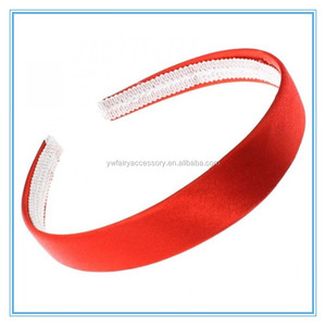 Handmade DIY elastic hair band accessory satin fabric covered plastic headband