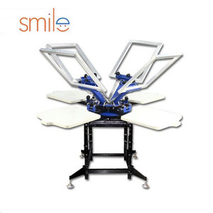 Manual DIY Full set 6 color 6 station t-shirt Silk Screen Printing Machine kit with related equipment