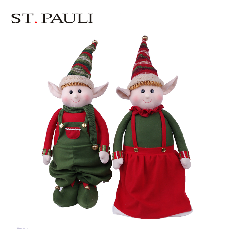 new style 52 inch large extendable stuffed plush elves outdoor christmass decorations for sale