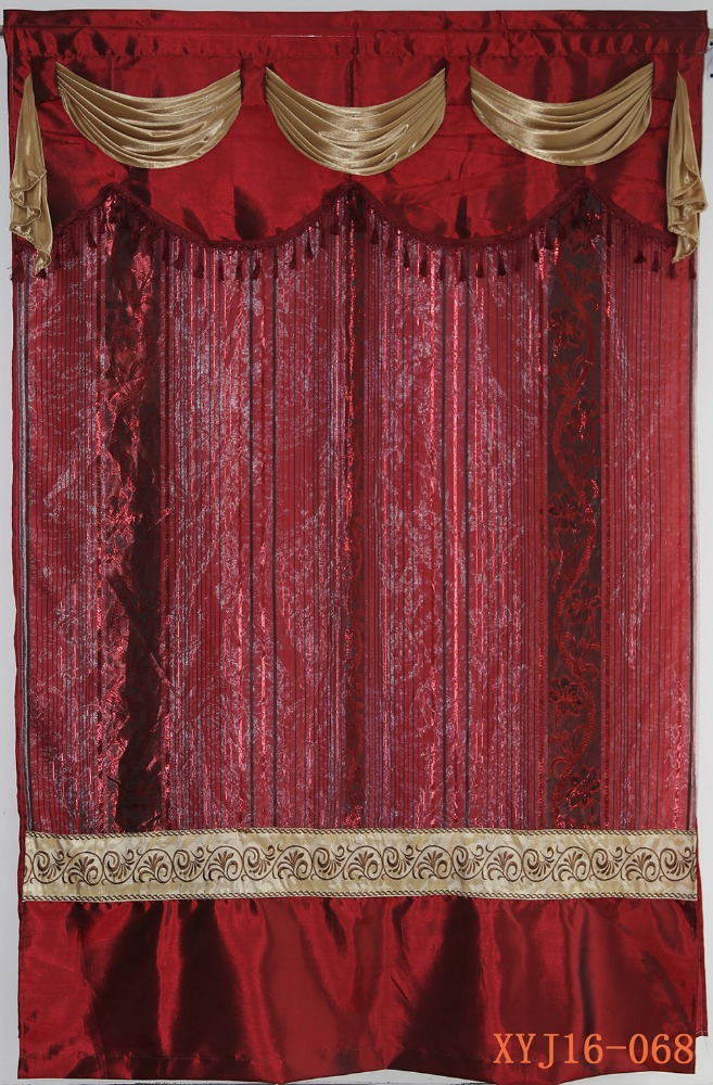 Elegant European style decor home sheer curtain with valance