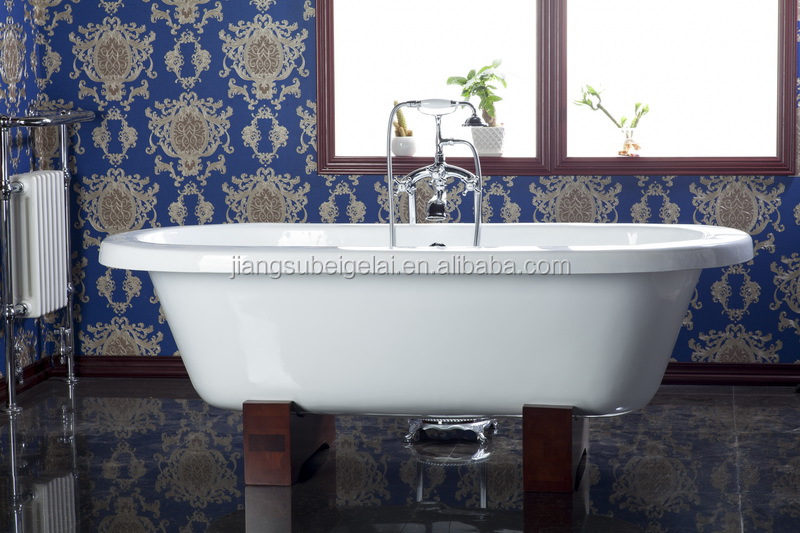 White Enamelled Cast Iron Flat Rim Dual Tub With Oak Wood Block Feet ...