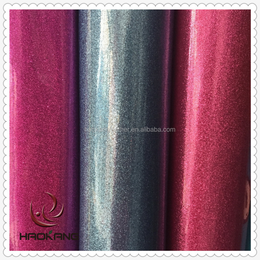 Pvc laminated new design leather with shinning glitter