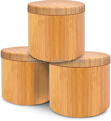 Natural Small Bamboo Round Snow Salt Box For Storing Dry Goods