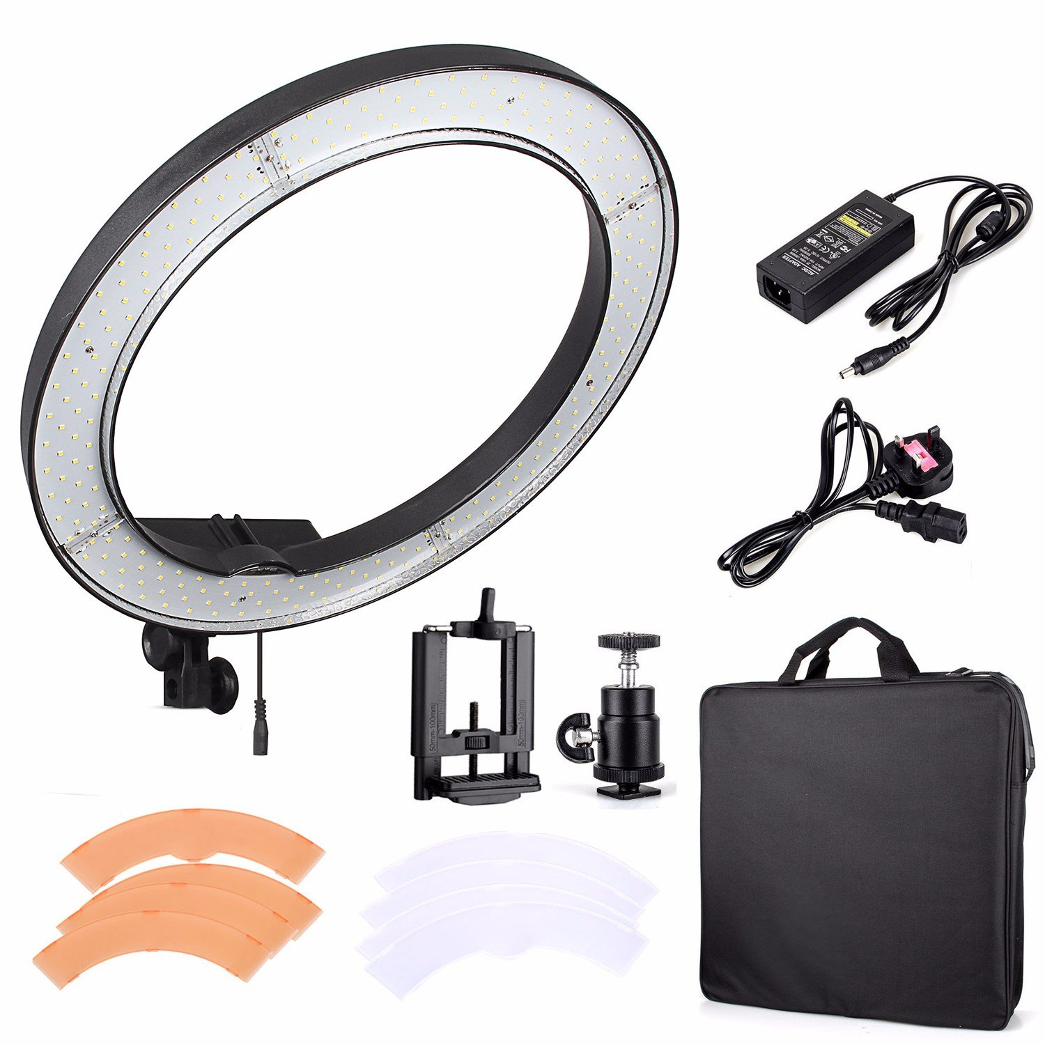 """EACHSHOT ES240 Kit, {Including Light, Phone Clamp, Tripod Head } 240 LED 18"""" Stepless Adjustable Ring Light Camera Photo/Video Portrait photography 240pcs LED 5500K Dimmable (without Light Stand)"""