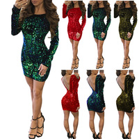 or20783a 2019 Europe America new style women long sleeves v-neck sequins dress dinner party sexy dress