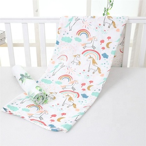 Super soft custom unicorn knitted bamboo cotton muslin baby blanket for kids
