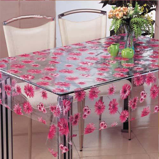 Peva/Eva Plastic Transparent Print Pink Flower Table Cloth