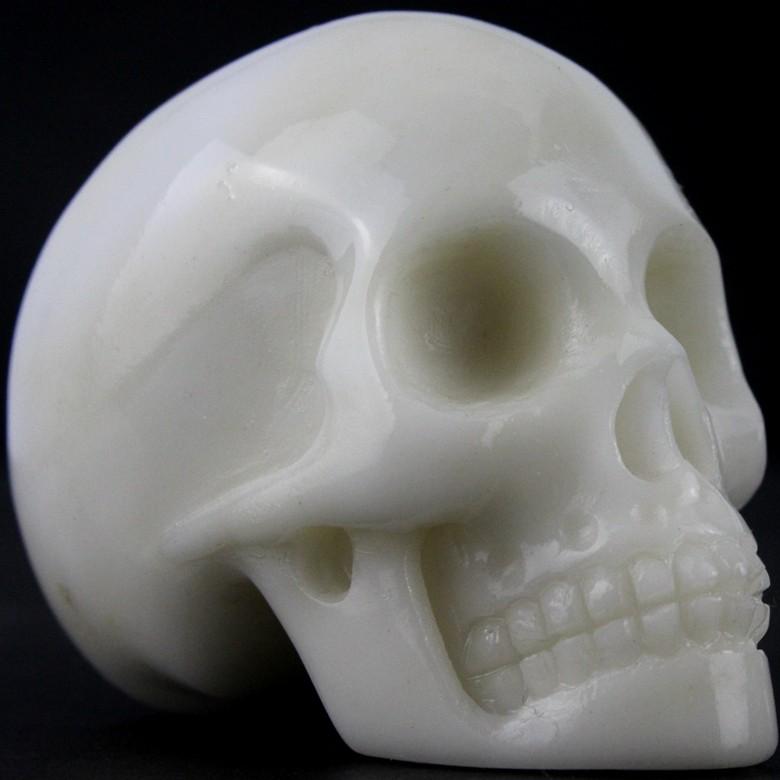 2' small size natural carved white jade gemstone skull Reiki items