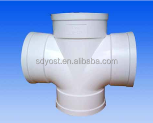 White PVC pipe fitting 4 way Connectors Side Outlet Tee , PVC 4 Way Elbow Fittings