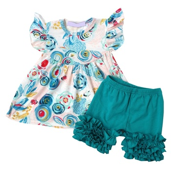 Hot-Sale Summer Cute Girls Floral Printing Flutter Sleeve Tunic Tops And Icing Shorts Girls Outfits Kids Boutique Clothes Sets