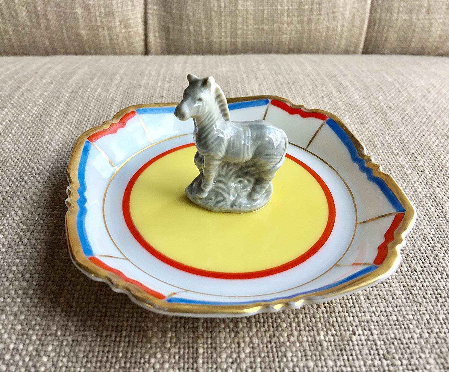 Vintage Saucer Zebra Jewelry Dish | Antique Trinket Dish | Repurposed Assemblage Jewelry Tray