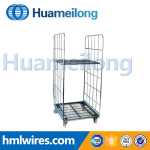 Logistic platform industrial supermarket laundry roll trolley container cage