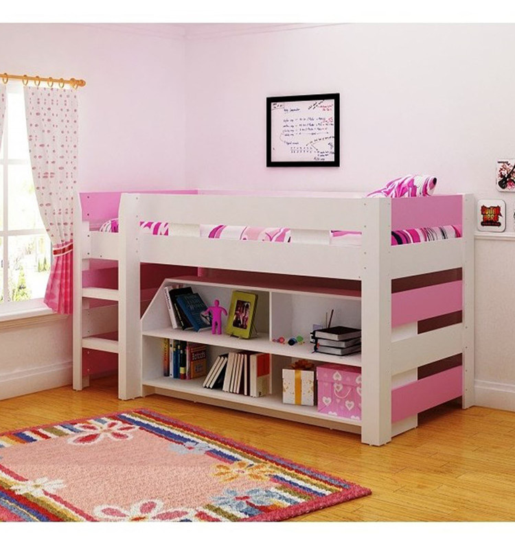 Good Quality Kids Bedroom Furniture Child Wooden Bed With Storage And Bookshelf