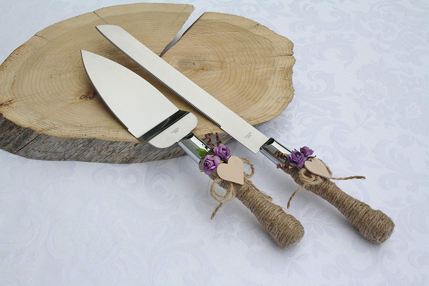 Rustic chic wedding cake cutter, Lilac flowers cake cutter, Wedding cake server set, Country wedding cake cutting, Cake server & cake knife set