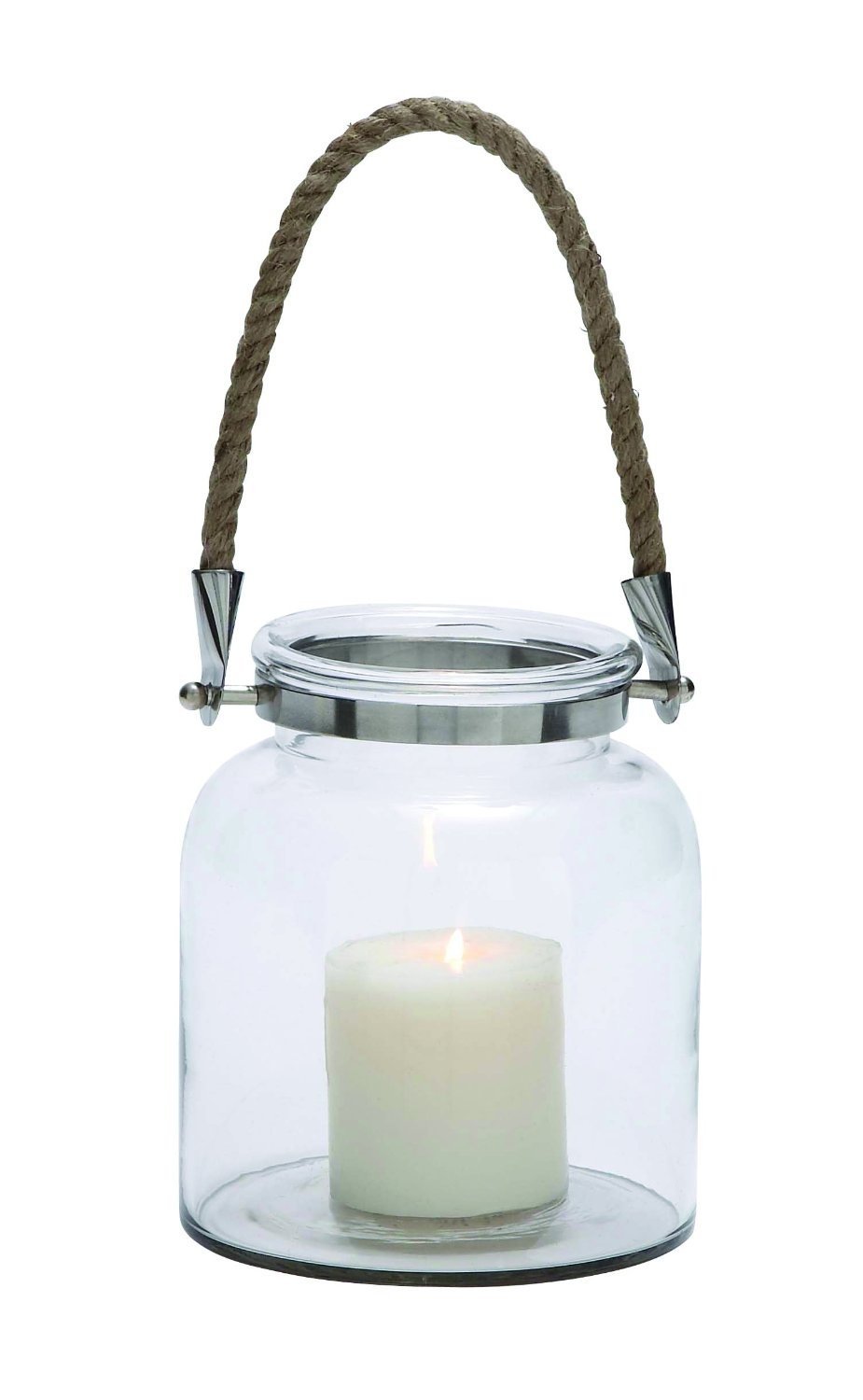 Plutus Brands Contemporary Styled Glass Metal Lantern Rope Handle