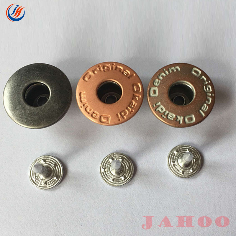 Colorful Brand Logo Copper Engraved Shank Buttons For Pants