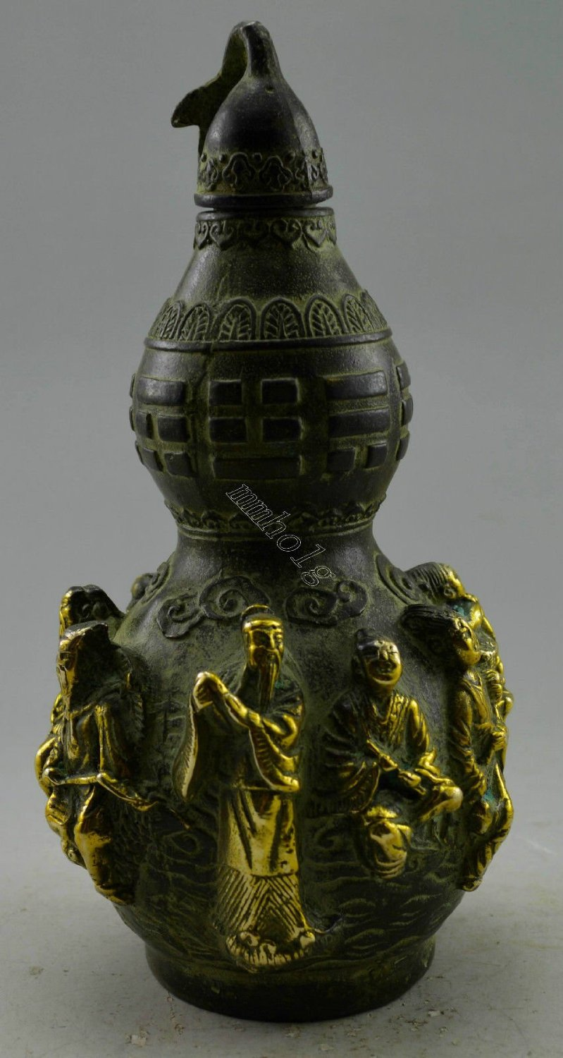Asia Collectible Decorated Old Handwork Bronze Carved Gourd 8 Immortal Snuff Bottle