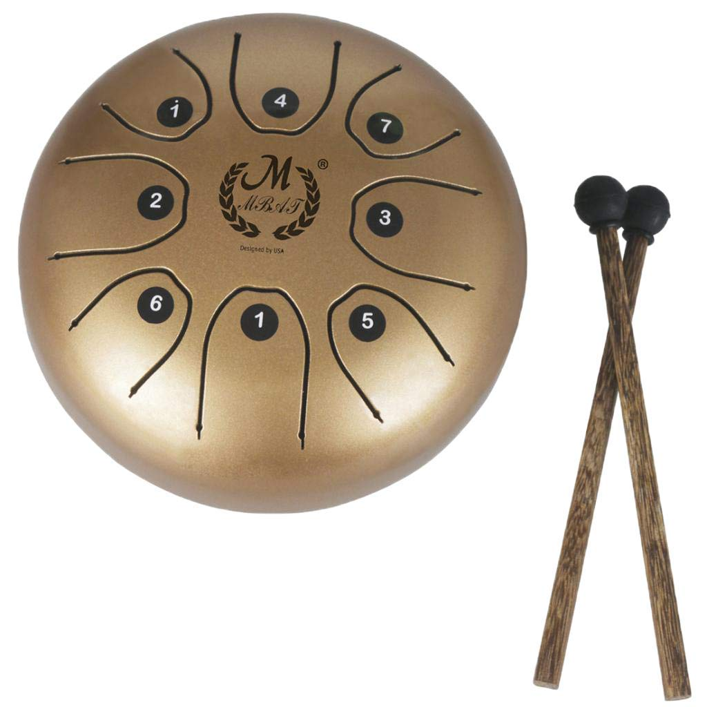 Baosity 5.5 Inch Steel Tongue Drum Handpan & Mallets & Bag for Children Adults Percussion Instrument - Gold