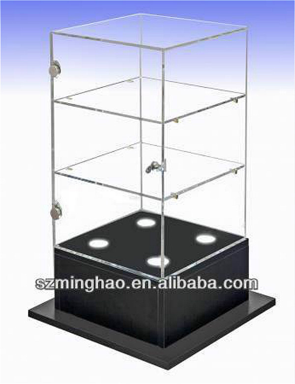 Plastic Lockable Storage Box / Acrylic Display Boxes With Lock And LED Light