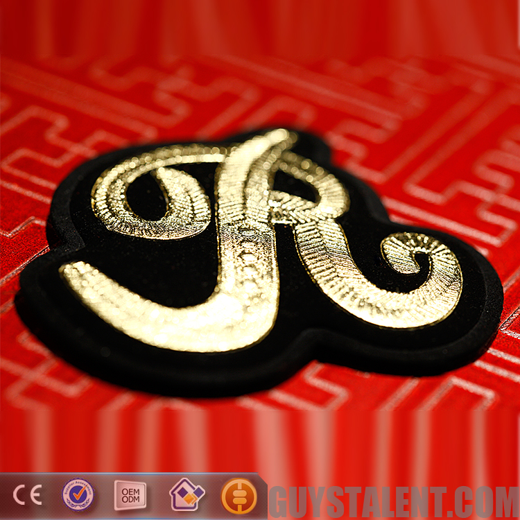 Custom Imitation India silk embroidery high frequency embossed Badge patch