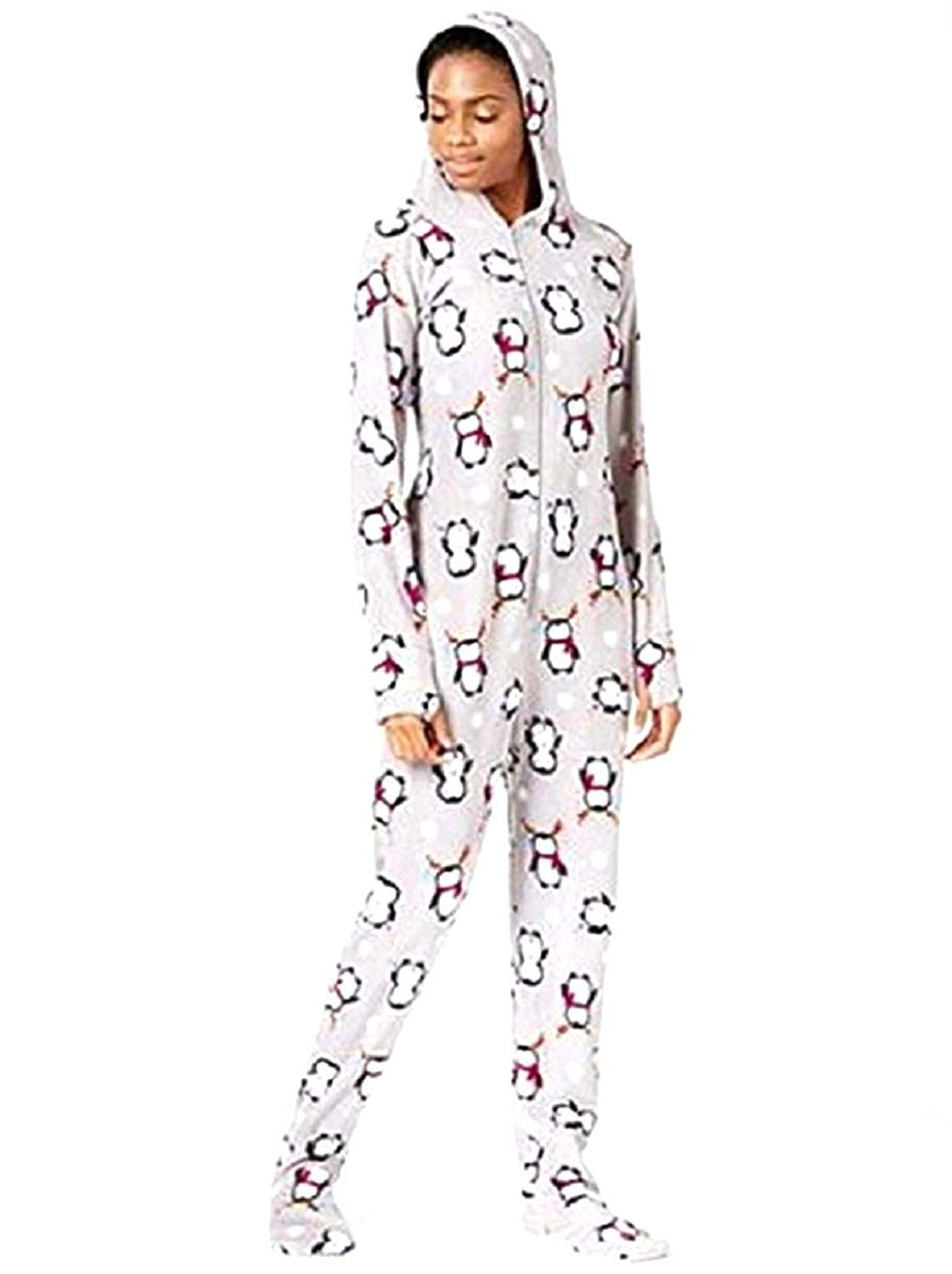 Get Quotations · Jenni by Jennifer Moore Hooded and Footed Fleece Onesie  Pajamas 6d6e74bd7
