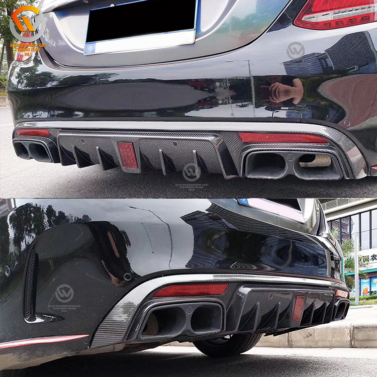 W205 Carbon Fiber Rear Diffuser With Exhaust Tips Fit For C-class W205 B style