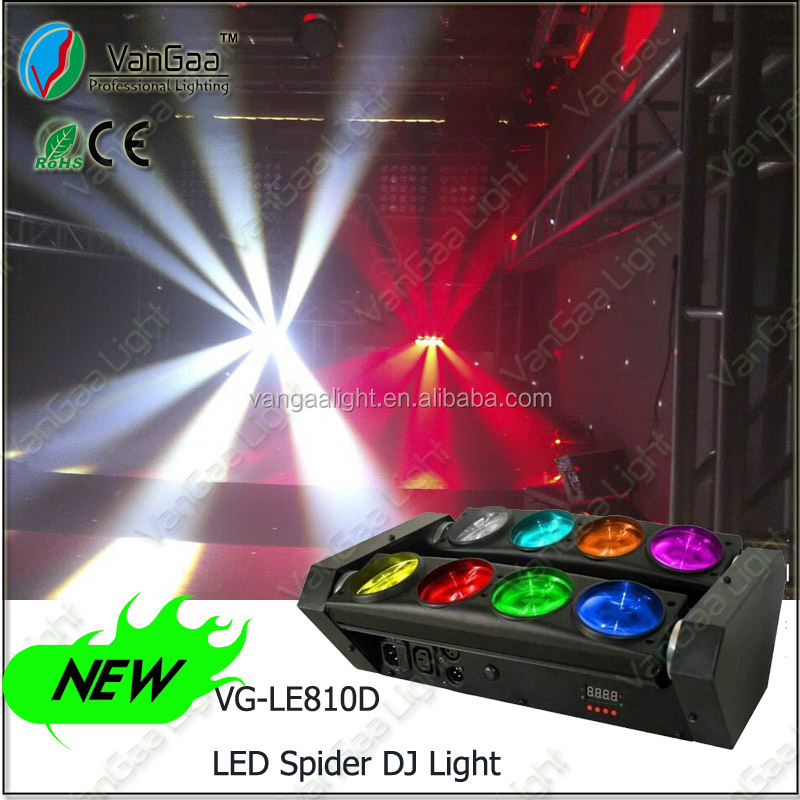2014 hot 8pcs 10w RGBW 4 in 1 beam LED moving head dj spider lighting