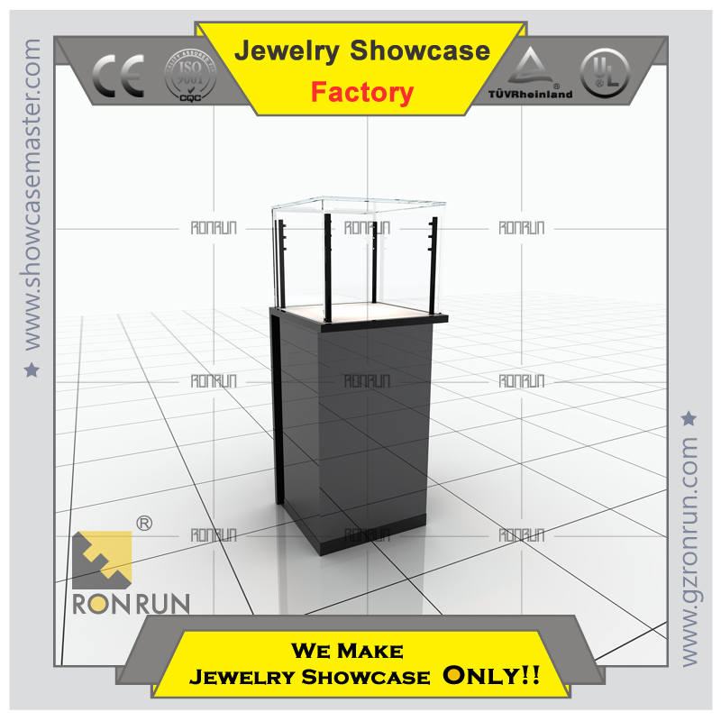 High end glass showcase rotating jewellery showcase with stainless steel and glass for names of jewelry shop