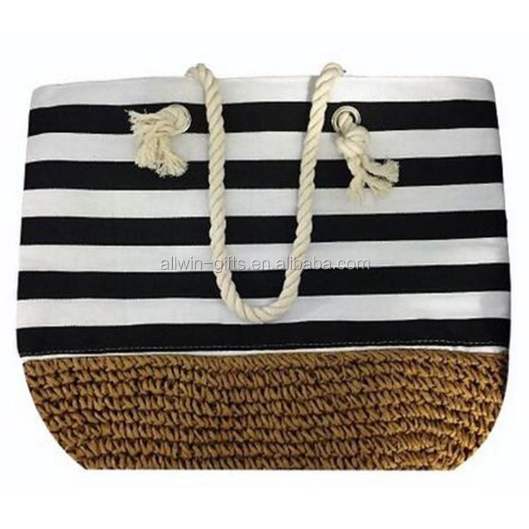 Fashion Tote Zippered & Canvas Lines Strip Summer Straw Beach Bag ...