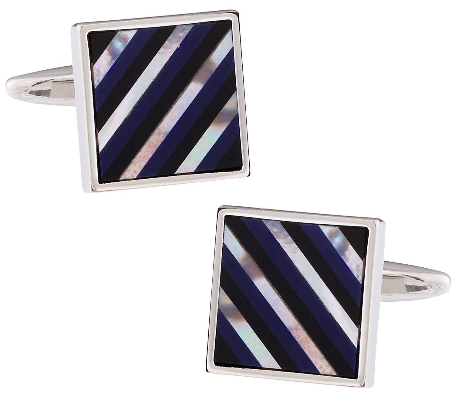 Cuff-Daddy Mother of Pearl, Black Onyx, Lapis Striped Cufflinks with Presentation Box