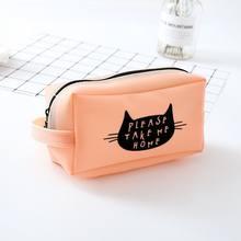 Творческий Простой силиконовые пенал, большой Ёмкость Cat канцелярские принадлежности, милые школьные принадлежности подарок Bts Карандаш су...(Китай)