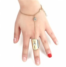 Fashion Women Finger Ring Bangle Slave Chain Hand Bracelet