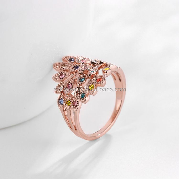2017 Crystal 18K Rose Gold Plated Shiny Colorful Zircon Unique Ring For Women Peacock Animal Ring
