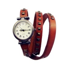 MULTIPLE QUARTZ FASHION WEAVE WRAP AROUND LEATHER BRACELET LADY WOMAN WRIST WATCH CLOCK