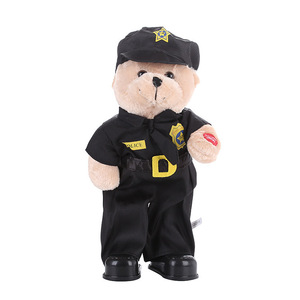 30CM New electric plush toy dancing and singing police uniform teddy bear doll