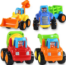 4pcs lot Engineer Trucks Tractor Mixer Dumper Car Children Boys Instructive Toy pull back cars playing