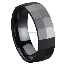 Shenzhen Fashion Jewelry Vendors 8mm Faceted Men's Black Ceramic Ring