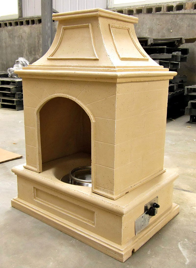 """Gas Fireplace Fire Pit Outdoor Tuscan Style Stone with Fire Logs 44""""H x 34""""W - Patio Deck - Propane Line or Tank - 50,000 BTU - Model SD6216A-sds"""