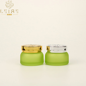 gold lifting ring cap jar, 30g 50g new arrive egypt glass jar with gold embossment lid