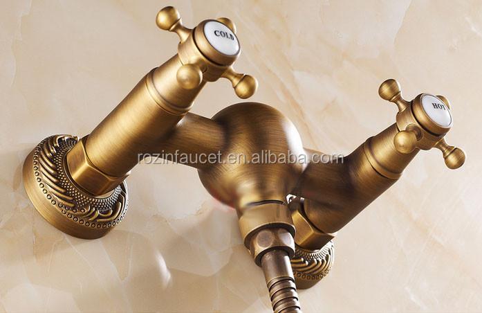 Style rétro Antique laiton de bain mur monté double poignée