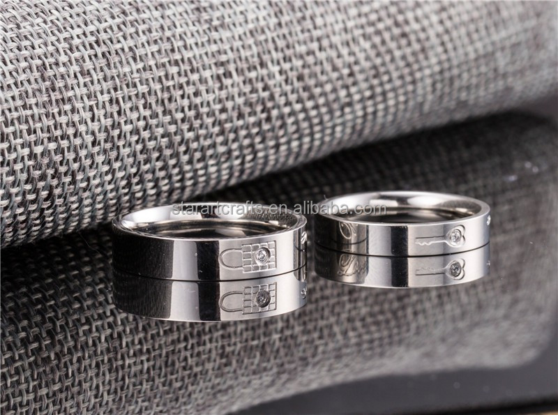 Fashionable Forever love diamond mosaic silver stainless steel ring jewelry couple rings set lock and key ring for lovers