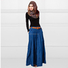 2014 Latest Design Medium Blue Denim Bottom With Belt And Flared Silhouette Maxi Long Skirts India Hot Sex Photos