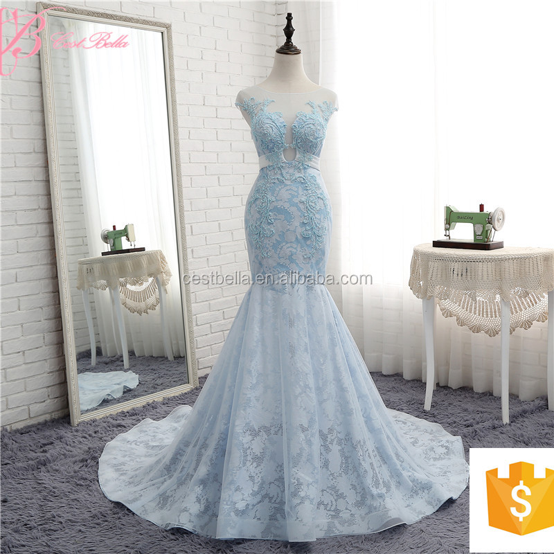 2017 Newest Design Gorgeous royal Blue Bridal Dress French Lace Strapless Mermaid Wedding Dress