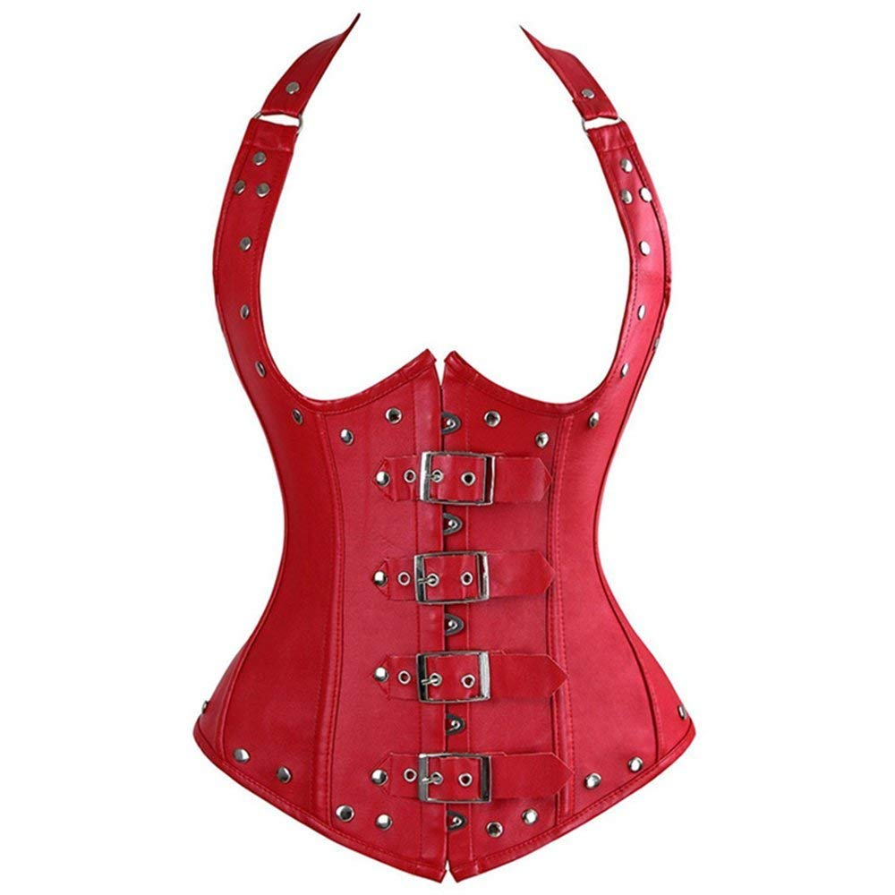 SPICY KISS Women Faux Leather Steampunk Sexy Underbust Corset Bustier Top Buckles